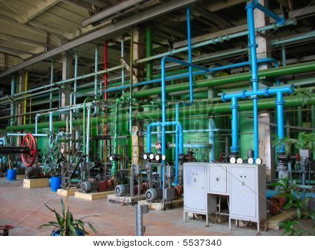 Pipes, Tubes, Machinery, Industrial Chemical Tanks At Power Plant