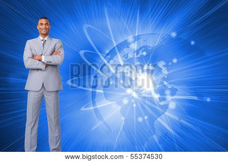Composite image of assertive businessman on phone