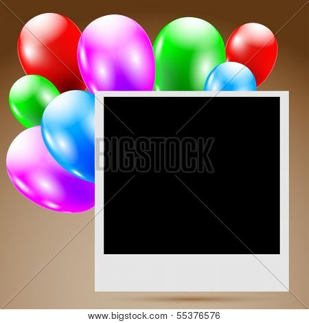 Illustration photo birthday with balloons.