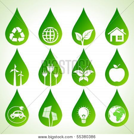 Set of eco icons on water drops stock vector