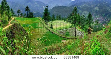 Agricultural Spring Landscape In The Mountainous, Rural, South West China.