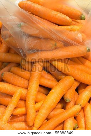 Raw Carrots Healthy Vegetables At Market As Food Background
