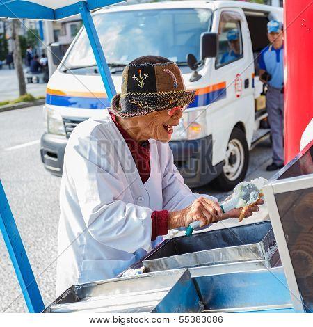 Senior Icecream Vendor in Nagasaki Chinatown