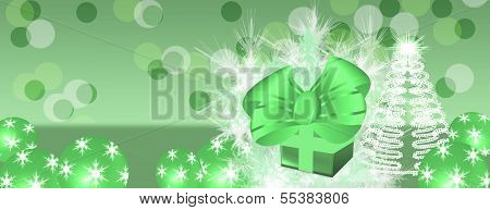 Panorama Green Background With Christmas Present