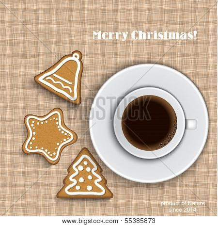 A Cup Of Coffee With Gingerbread