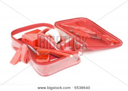 Pen Case With Red School Set