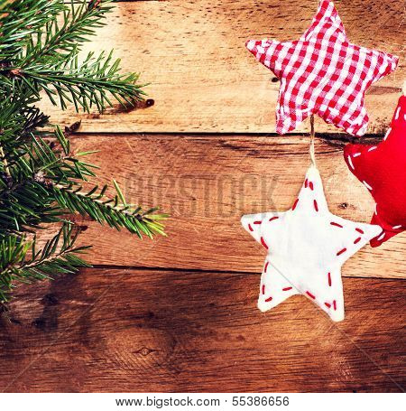 Christmas Decorations Wooden Background. Vintage Christmas Card With White And Red Festive Hanging T