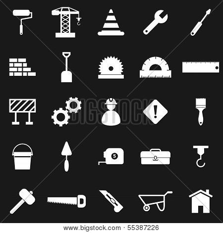 Construction Icons On Black Background