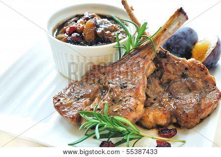 Lamb Chops with Prune Chutney