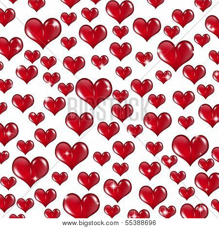 Many Red Valentine Hearts On White Background