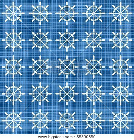 white rudder wheels in rows on blue background grunge seamless pattern