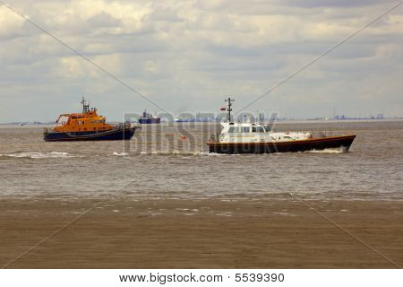 Boats On The Humber Estuary