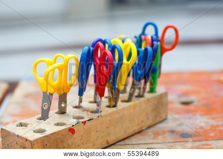 Colorful Scissors For Children For Making Art, Closeup.