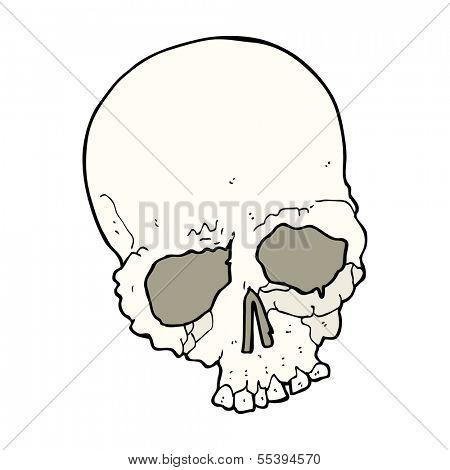 cartoon spooking old skull