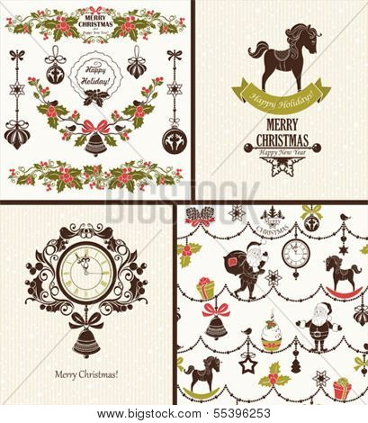 Collection of vector Christmas backgrounds, cards, symbols and ornaments.