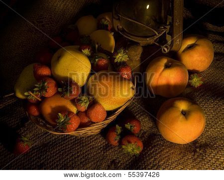 Fruit on Hessian