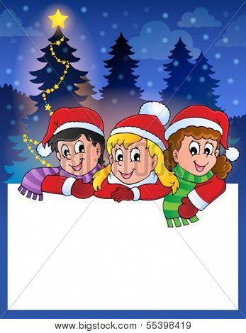 Small frame with Christmas children - eps10 vector illustration.