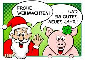 Santa Claus And Lucky Pig With Speech Bubbles
