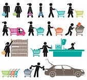 image of grocery cart  - ICONS OF MEN AND WOMEN GO SHOPPING - JPG