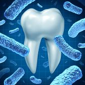 image of single  - Dental hygiene as an oral health symbol with a single molar and a group of three dimensional bacteria causing tooth disease destroying enamel resulting in cavities and gum disease on a white background - JPG