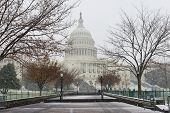 US Capitol building in snow - Washington DC, United States