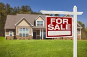 stock photo of borrower  - Home For Sale Real Estate Sign in Front of Beautiful New House - JPG