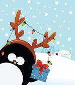 pic of igloo  - Cute reindeer costumed penguin with christmas gift - JPG