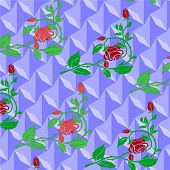 picture of climbing roses  - Preview repeating ornament consisting of red climbing roses - JPG