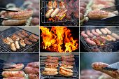 stock photo of raw chicken sausage  - Collage ob bbq sausage - JPG