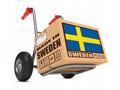 Made in Sweden - Cardboard Box on Hand Truck.