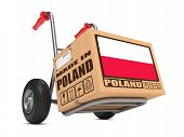 Made in Poland - Cardboard Box on Hand Truck.