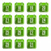 March vector flat calendar icons with long shadow. Calendar Days Of Year Set 12