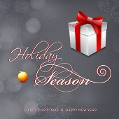 Happy Holidays background with stylish text and gif box wrapped in red ribbon on grey background,