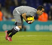 BARCELONA - NOV, 30: Claudio Bravo of Real Sociedad in action during a Spanish League match at the E