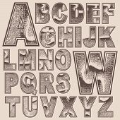 stock photo of school carnival  - Grunge scratched alphabet set - JPG