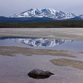 Little Peak Reflection Fox Lake Yukon T Canada