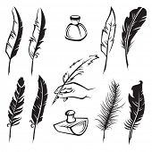 picture of inkwells  - set of monochrome feather pens - JPG