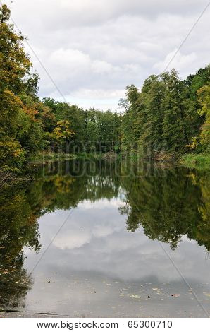 Early autumn park.Forest landscape of the lake.