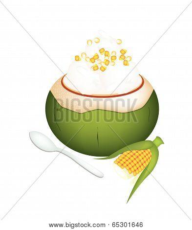 Coconut Ice Cream With Sweetcorns On White Background
