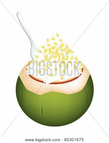 Coconut Ice Cream With Split Peas On White Background