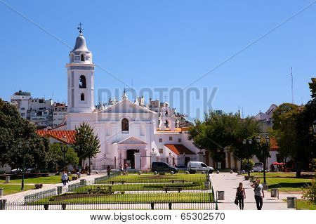 BUENOS AIRES, ARGENTINA - MAR 13 : Visitors to the Church Iglesia Pilar