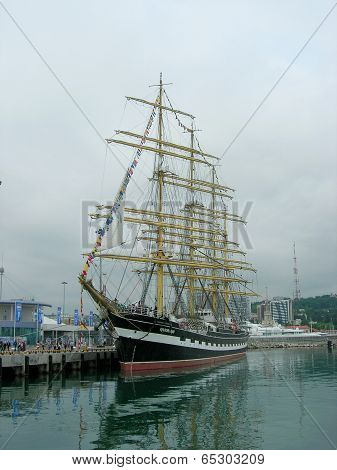 Sailship  Kruzenshtern  in port of  Sochi.