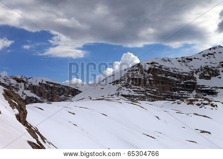 Snow Rocks And Cloudy Sky