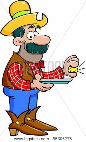 Cartoon prospector with a gold nugget