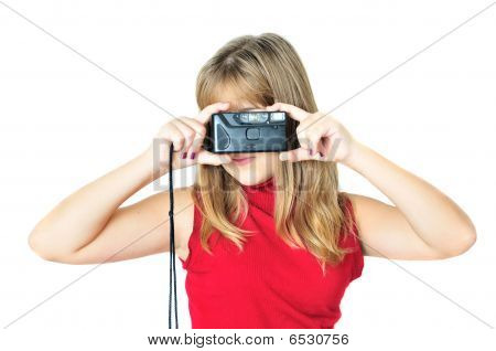 Teen With Old Photocamera