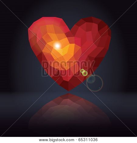 Abstract Background With Triangles - Polygons Red Heart