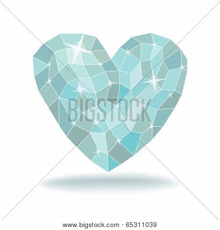 Abstract Triangles - Polygons Ice Heart In White Background