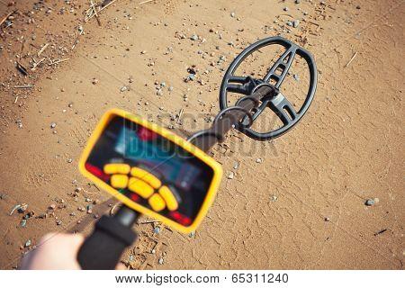 metal detector in action