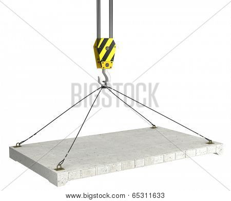 3d crane hook with concrete slab