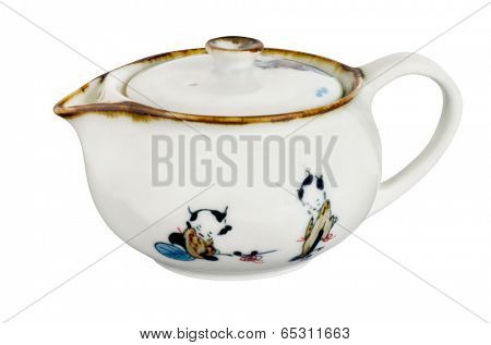 Chinese old antique porcelain tea pot isolated with path on white background. Traditional oriental painting on it.